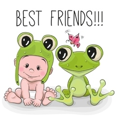 Cute cartoon baby and frog vector image