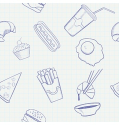 Food and Drink Hand Drawn Seamless Pattern vector image vector image