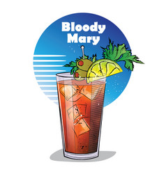 hand drawn of cocktail bloody mary vector image