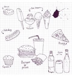 set of fast food sketch vector image
