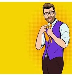 Young hipster man comics character vector image