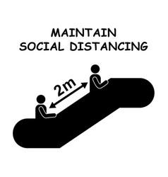 1260 maintain social distancing escalator 2m vector image