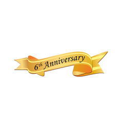 6th anniversary logo vector image
