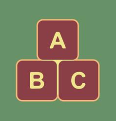 abc cube sign cordovan icon vector image