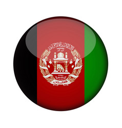 afghanistan flag in glossy round button of icon vector image