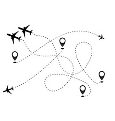 Airplane line path icon of air plane flight vector
