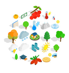 arboreal icons set isometric style vector image