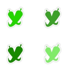 Assembly realistic sticker design on paper pepper vector