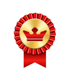 award ribbon gold icon golden red medal crown vector image