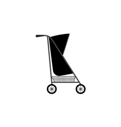 Baby carriage silhouette icon vector