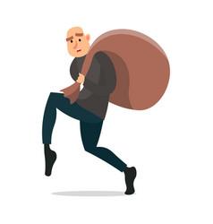 Bald modern burglar walking very quiet with money vector