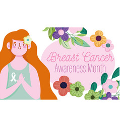 breast cancer awareness month cartoon character vector image