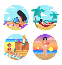 business summer women set vector image