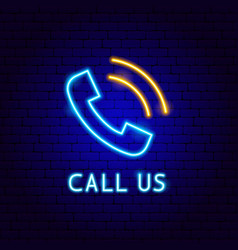 call us neon label vector image