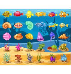Cartoon game icons with seashell colorful vector