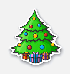 cartoon sticker with christmas tree in comic style vector image