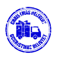 christmas delivery gift rubber stamp isolated vector image