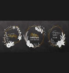 Christmas geometric frames with hand-drawn plants vector