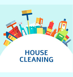 cleaning tools and products in a banner for vector image