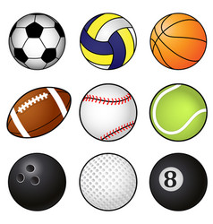 collection nine coloured sports balls vector image