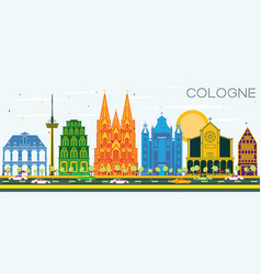 Cologne germany city skyline with color buildings vector