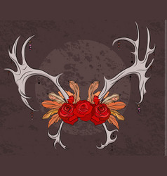 color deer antlers with roses and feathers boho vector image