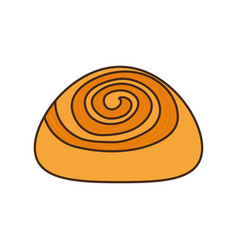 colorful cinnamon roll over white background vector image