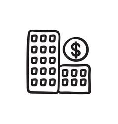 condominium with dollar symbol sketch icon vector image