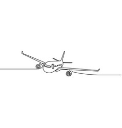 continuous one line airplane vector image