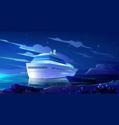 Cruise liner in ocean at night modern ship boat vector