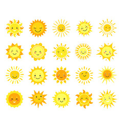 cute sun cartoon sunny emoji happy yellow sun vector image