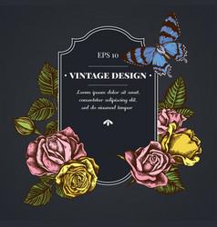 Dark badge design with alcides agathyrsus roses vector