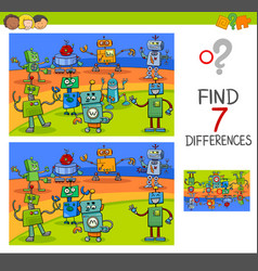 Differences game with robot characters vector