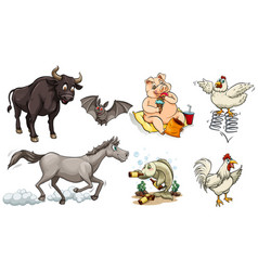 Different types of animals doing different things vector