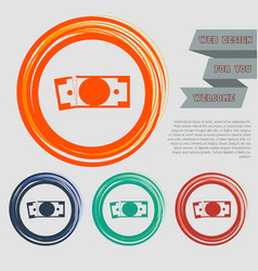 Dollar icon on red blue green orange buttons vector