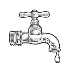 Dripping faucet sketch vector