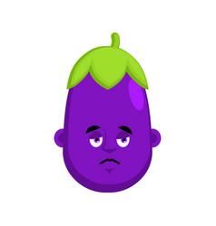 eggplant sad emotion avatar purple vegetable vector image