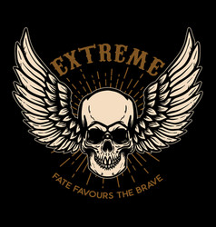 extreme winged skull on black background design vector image