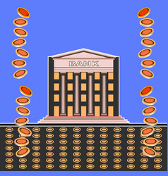 falling coins and front view a bank building vector image