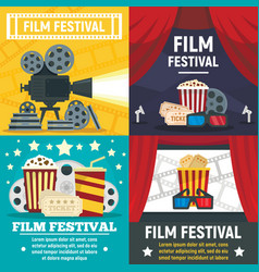 film festival banner set flat style vector image