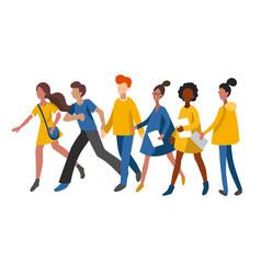 flat infographics walking women and men vector image