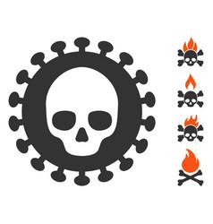 Flat mortal virus icon with bonus icons vector