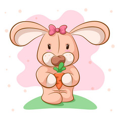 funny cartoon rabbit with carrot vector image