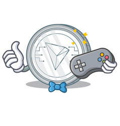Gamer tron coin character cartoon vector