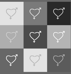 gender signs in heart shape grayscale vector image