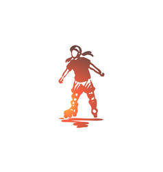 girl rollerblading skate child active concept vector image