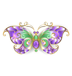 Gold butterfly with amethyst vector