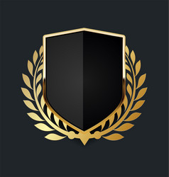 golden shield with golden laurel wreath 07 vector image