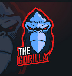 Gorilla esport mascot logo design for gamer vector