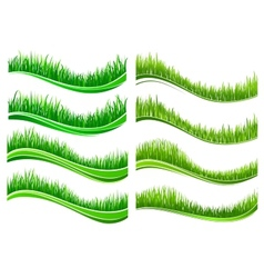 Green colored grass borders vector image